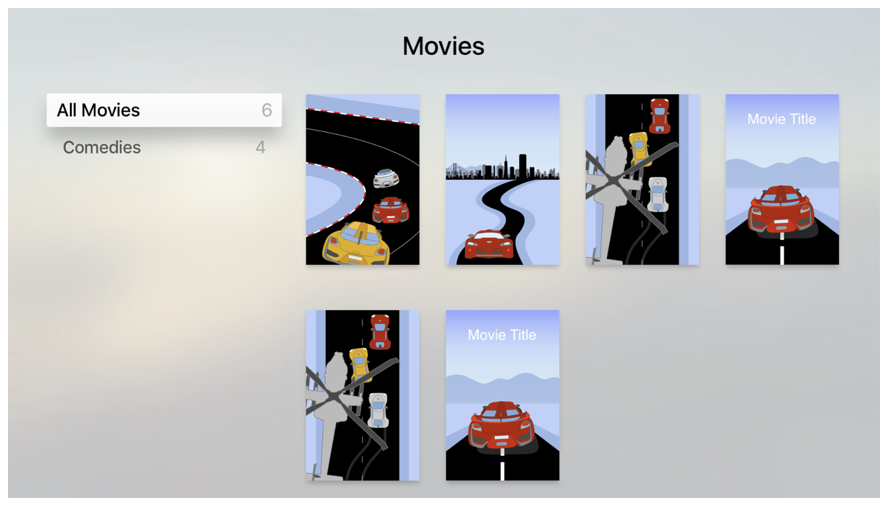 Screenshot showing several movie posters on the right and a list of movie categories on the left.