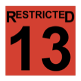 The word restricted, above the number thirteen, in black, inside a red-filled square.