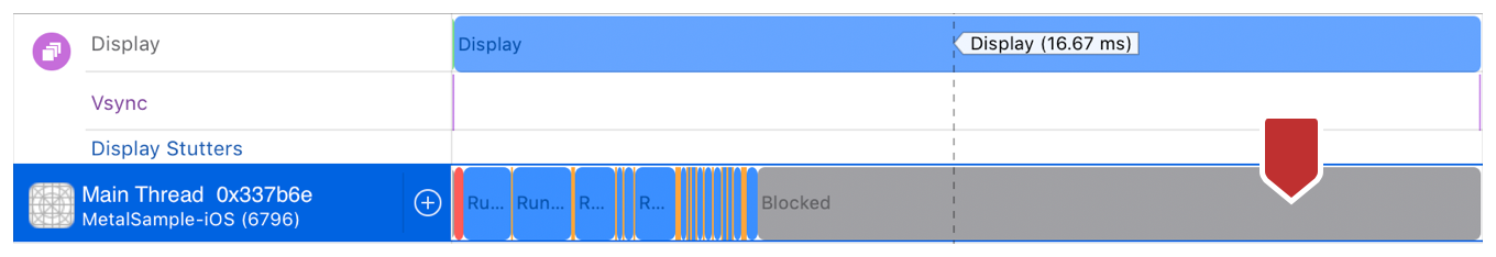 Screenshot showing that a significant amount of Blocked time signals healthy host app code.