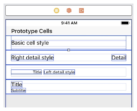 The four standard cell styles: basic, right-detail, left-detail, and title-subtitle.