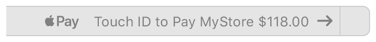 A screenshot of the Touch Bar requesting Touch ID for an Apple Pay transaction.