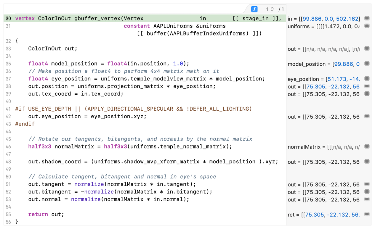 Screenshot of Xcode's source code view populated with a vertex shader.