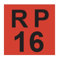 The phrase R P, above the number sixteen, in black, inside a red-filled square.