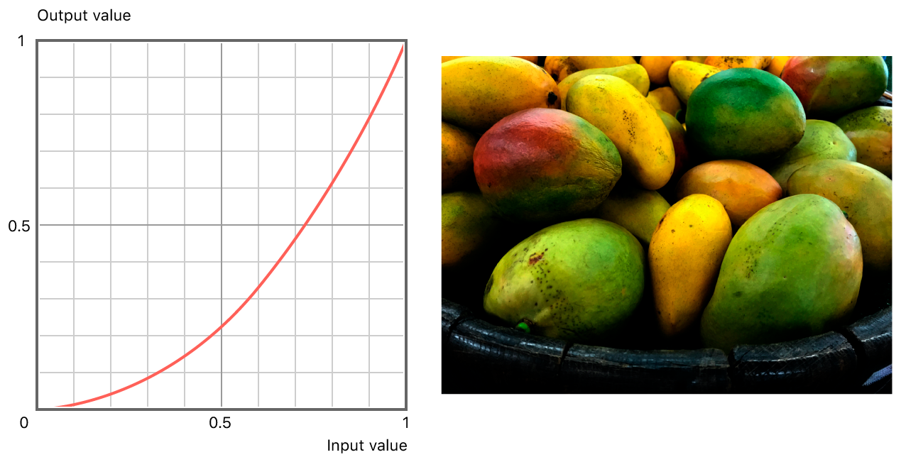 On the left, a graph showing the non linear relationship between input and output values. On the right, darkened version of original photograph with exponential adjustment applied.