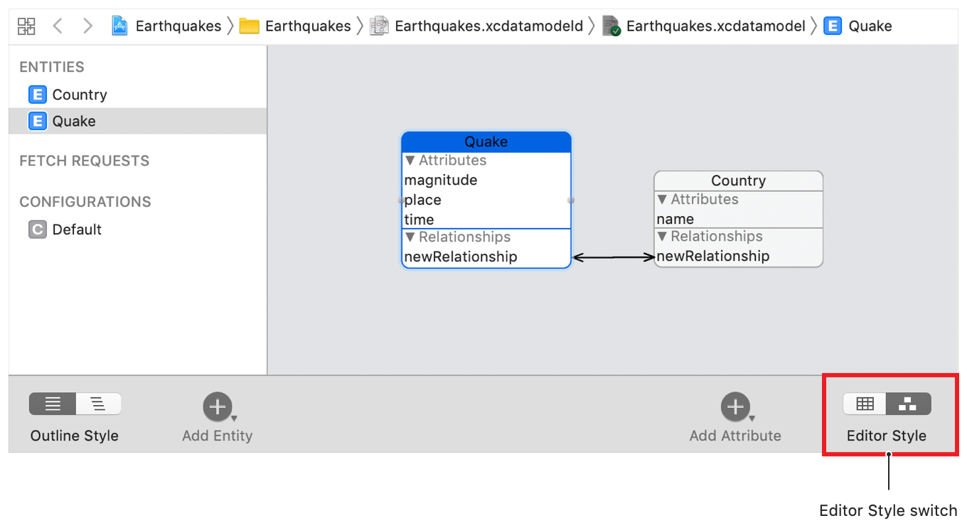 Screenshot showing Quake and Country entities depicted side-by-side using the graph editor style.