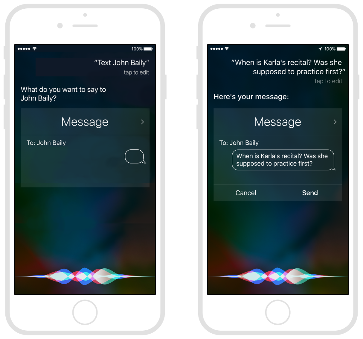 Sending a message using Siri