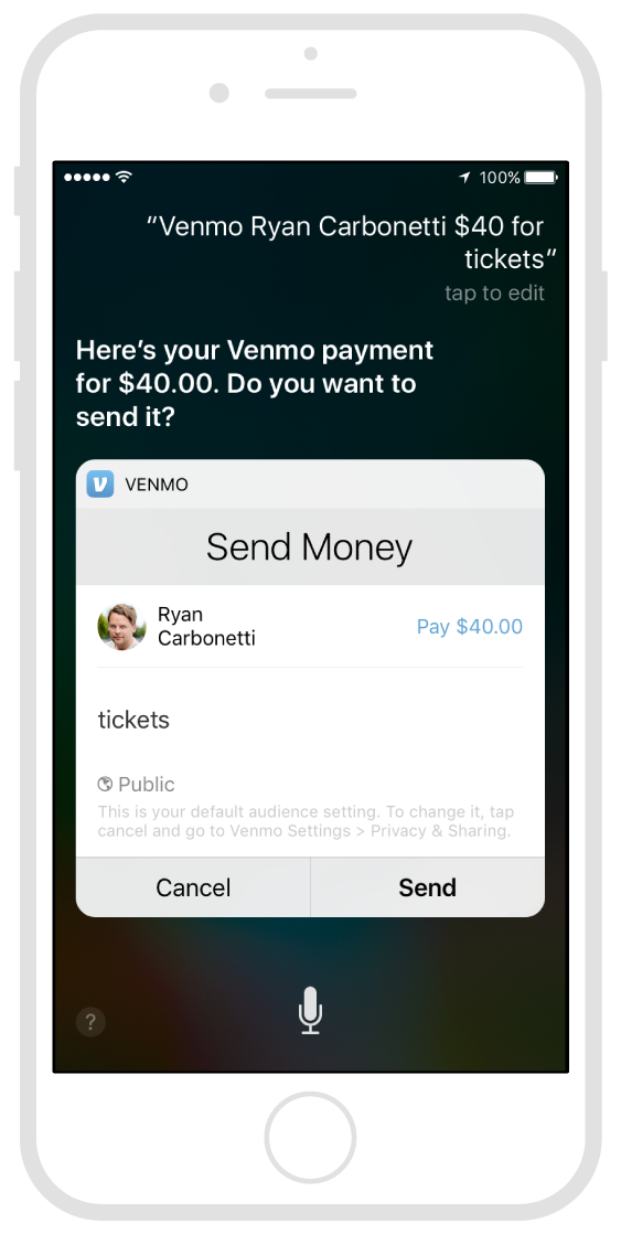 Sending money to a friend using Siri