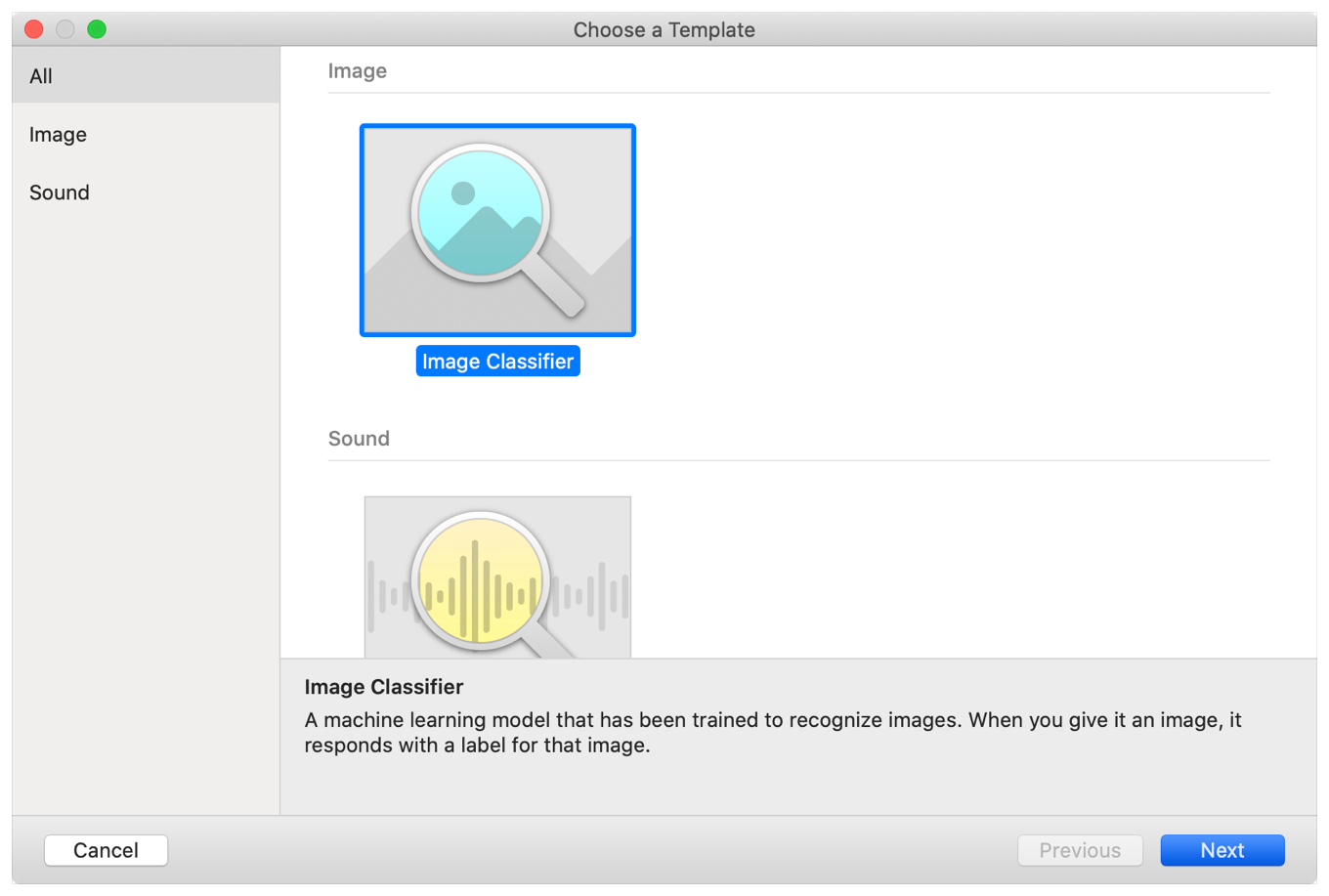 Screenshot of the Create ML project templates, with options for an Image Classifier, and a Sound Classifier.