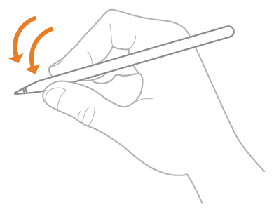 An illustration of a hand double-tapping an Apple Pencil with the index finger.