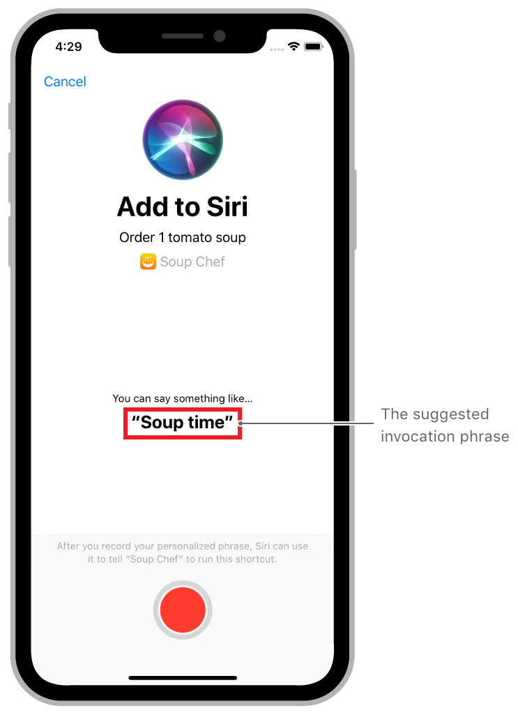 A screenshot of adding a shortcut to Siri for one order of tomato soup.