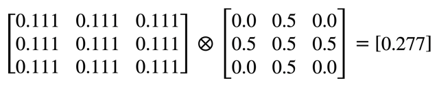 Formula that describes the result of convolving with a box blur kernel.
