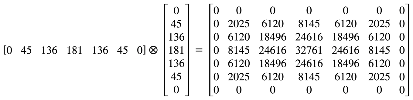 Formula that shows the outer product of a 7 by 1 vector and a 1 by 7 vector is the 7 by 7 matrixdescribed in the previous section.