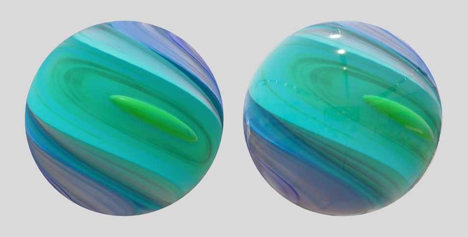 Screenshot of two marbles side-by-side that demonstrate the effect of applying clearcoat. The image of the marble on the right shows a glossier finish and reflective highlights at the top.