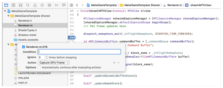 An Xcode screenshot that shows a breakpoint, the breakpoint editor, and the Capture GPU Frame menu item.