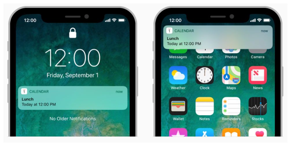 The notification interface is displayed on the lock screen and on the Home screen of an iOS device.