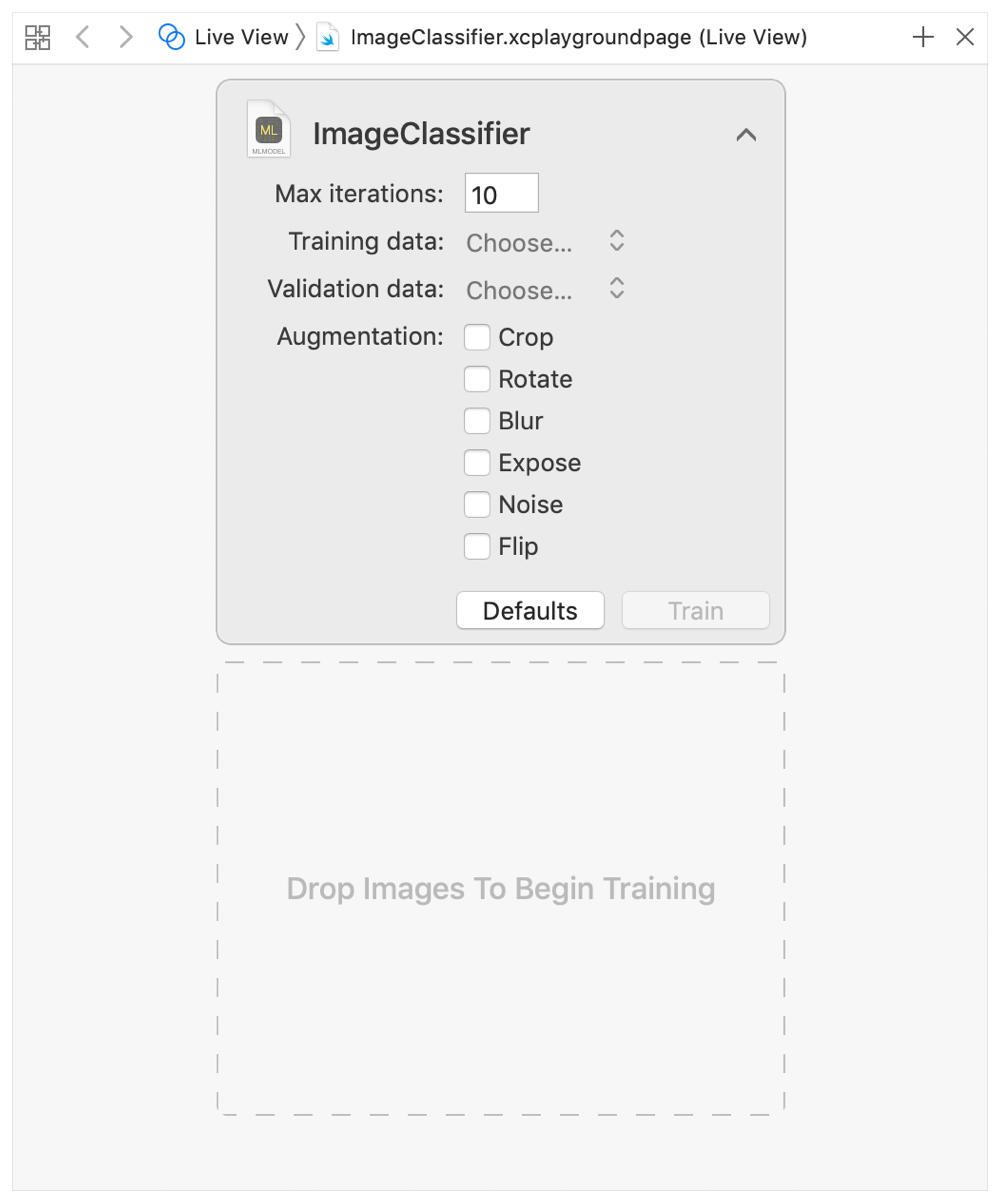 Screenshot showing the image classifier training parameters, including maximum iteration count and augmentation options.