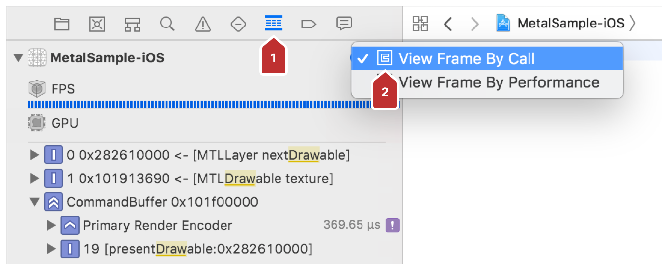 Screenshot showing Xcode after enabling the debug navigator and choosing to view the frame by call.