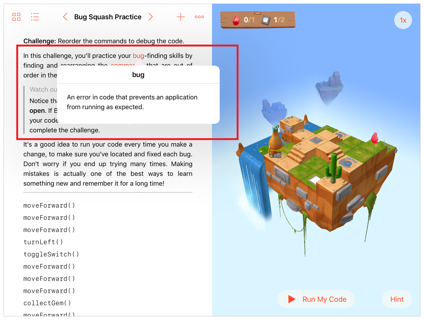 """Screenshot showing the term definition popover for the tapped word """"bug"""" in Swift Playgrounds."""
