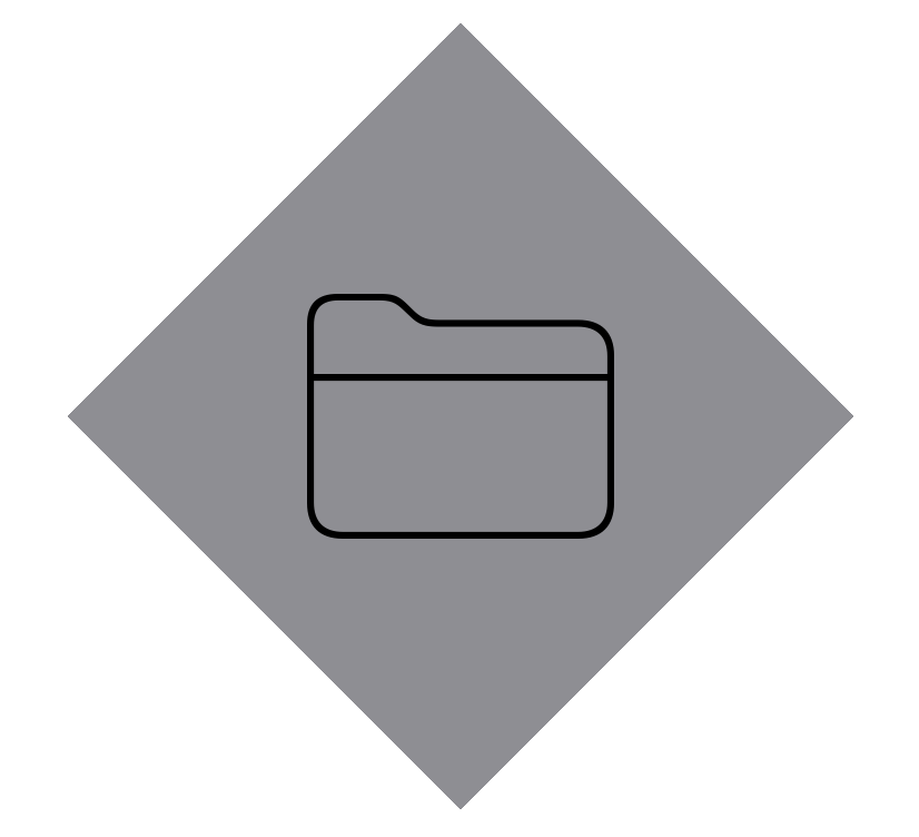 A view showing a large folder image with a grey diamond placed behind it as its background view.