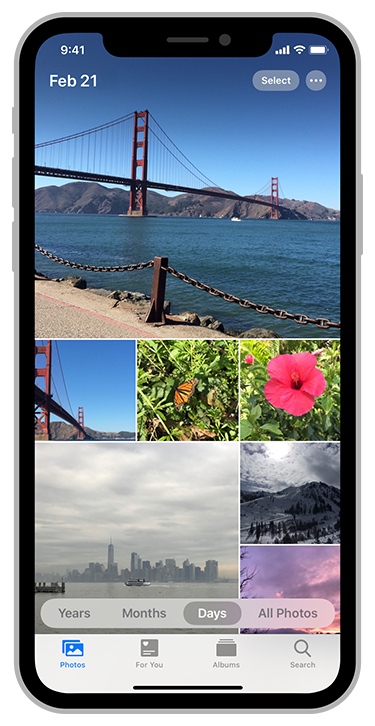 Screenshot of the Photos app on iOS showing a grid of photos displayed in the Days view.