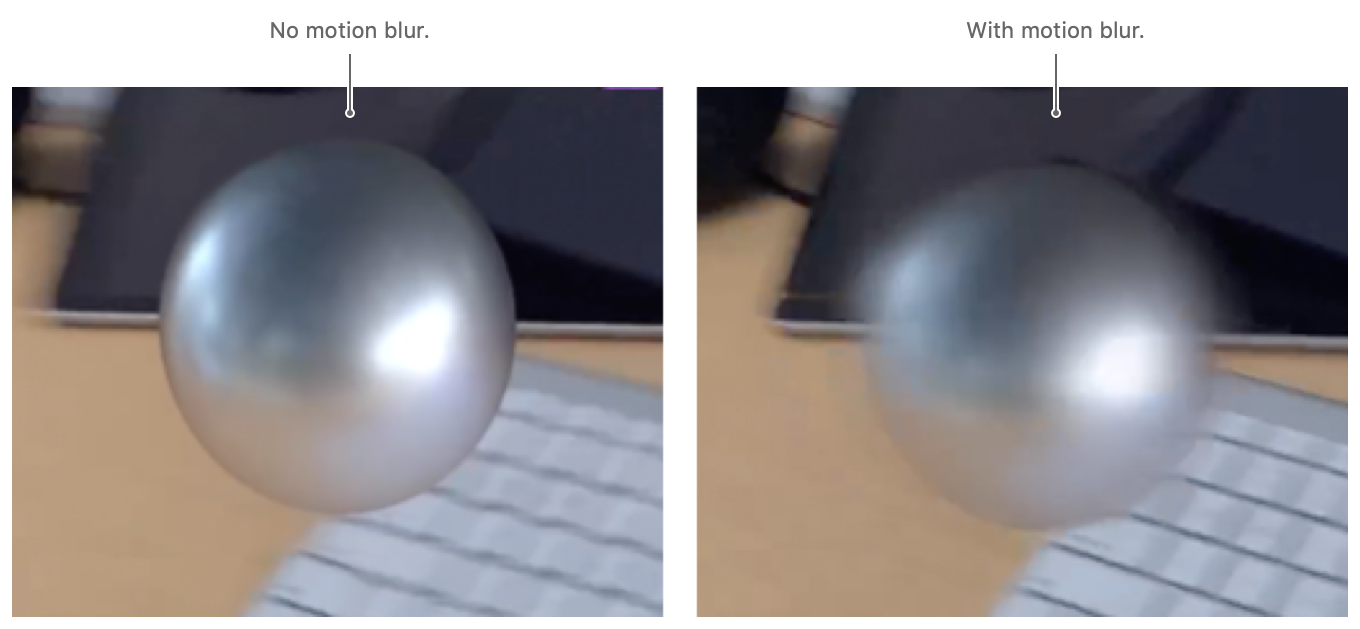 Screenshot showing the before and after case of virtual content rendering with motion blur.