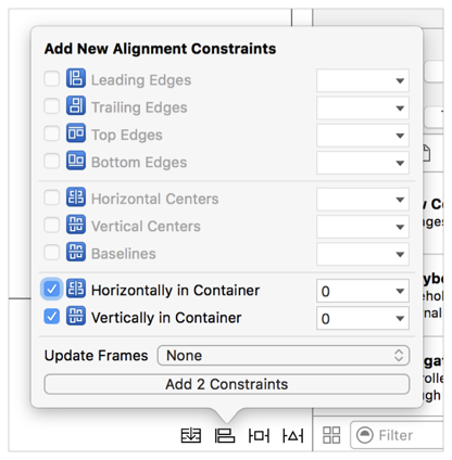 Xcode constraints window with the horizontal and vertical alignment options selected.