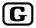 The letter G, inside a black rectangle with rounded corners.