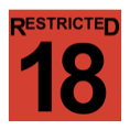 The word restricted, above the number eighteen, in black, inside a red-filled square.