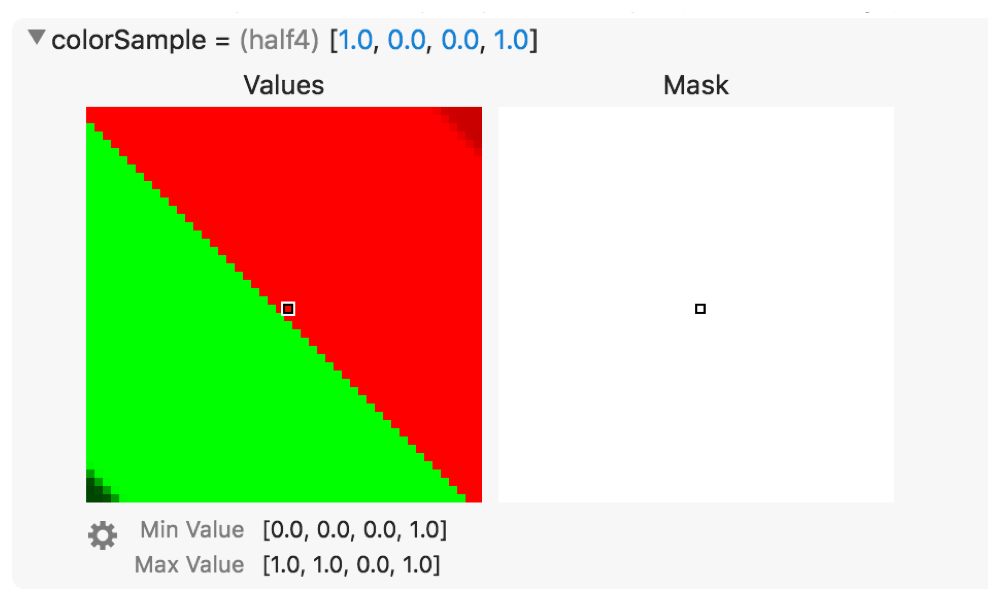 Screenshot of an inspected color sample's graphical rendering.