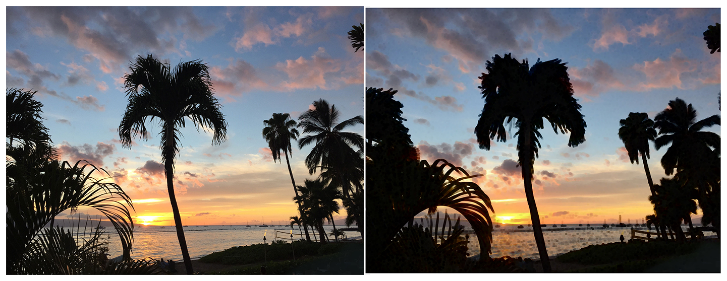Two photographs of a beach at sunset with multiple palm trees. The photo on the left is clear and crisp. In the photo on the right, a morphology minimum blur has been applied, making the image hazy and the edges of the palm trees darker and less distinct.
