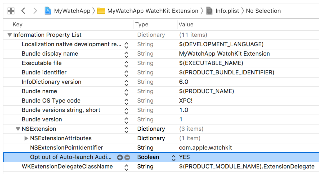 A screenshot showing the Opt out of Auto-launch Audio App key in the info.plist editor.