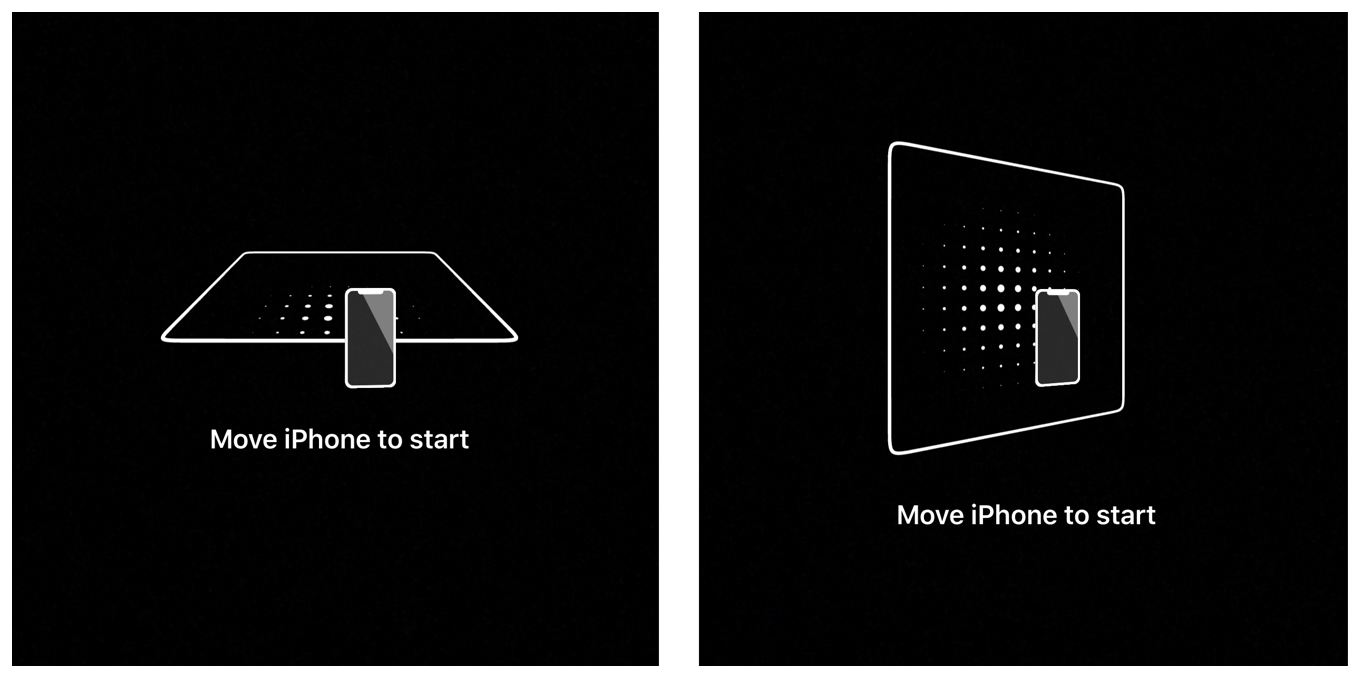 Illustration showing two overlay views. The view at the left shows a horizontal plane, and the view at the right shows a vertical plane. Both views indicate that the user should begin moving the device.