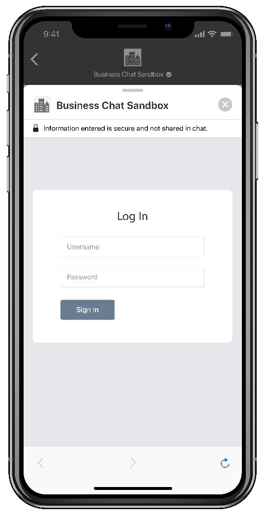 A screenshot of a login form, as displayed on iPhone.