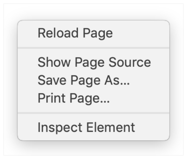 Context menu in Safari