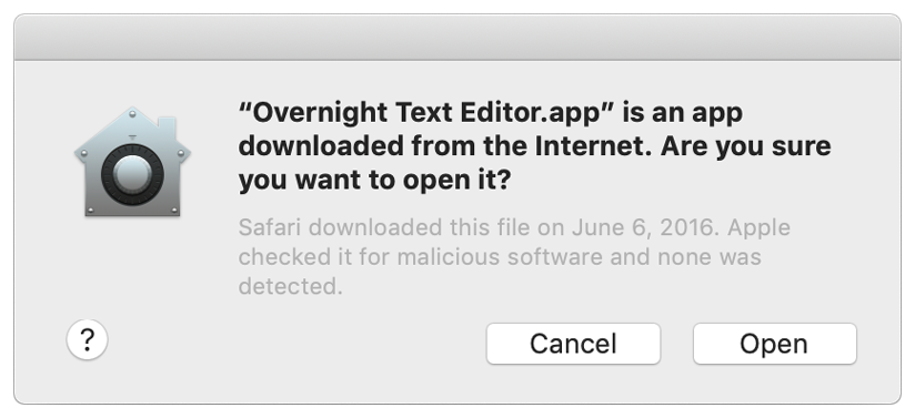 Screenshot of the dialog that Gatekeeper presents to let the user know that Apple notarized the app being launched.