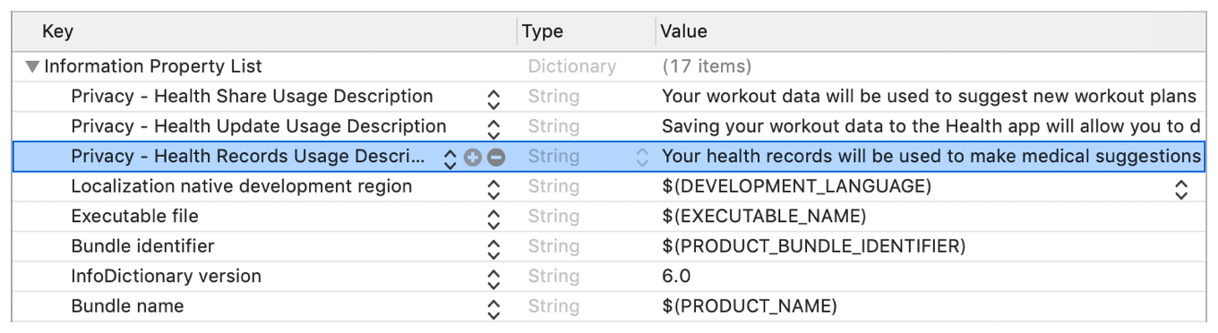 A screenshot showing the Health Records Usage string in an app's Info.plist file.