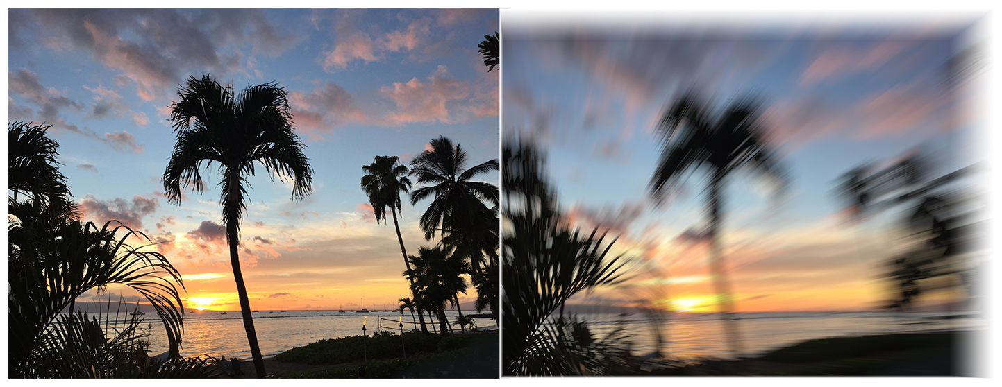 Two photographs of a beach at sunset with multiple palm trees. The photo on the left is clear and crisp. In photo on the right, a zoom blur filter has been applied resulting in a distorted and fuzzy image.