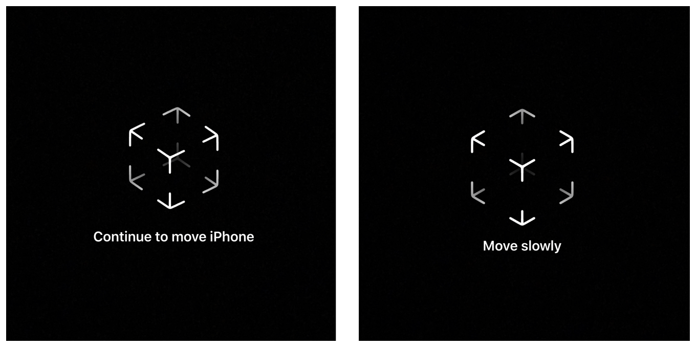 Illustration showing two overlay views. The view at the left indicates that the device is moving and the user should continue moving it. The view at the right indicates that the device is moving too fast and the user should move it more slowly.