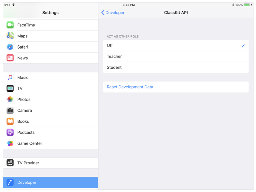 Screenshot of ClassKit API developer settings on an iPad.