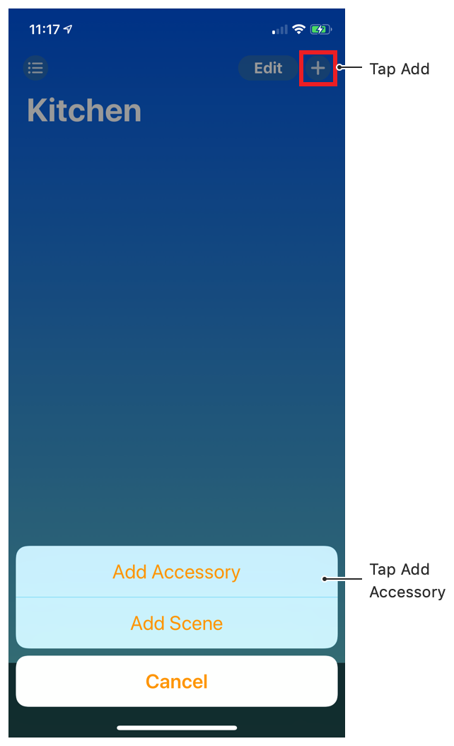 Screenshot showing the location of the Add Accessory button in Apple's Home app.