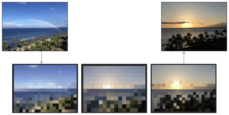 Pixelated transition from a beach at daytime with rainbow in the sky to a beach at sunset