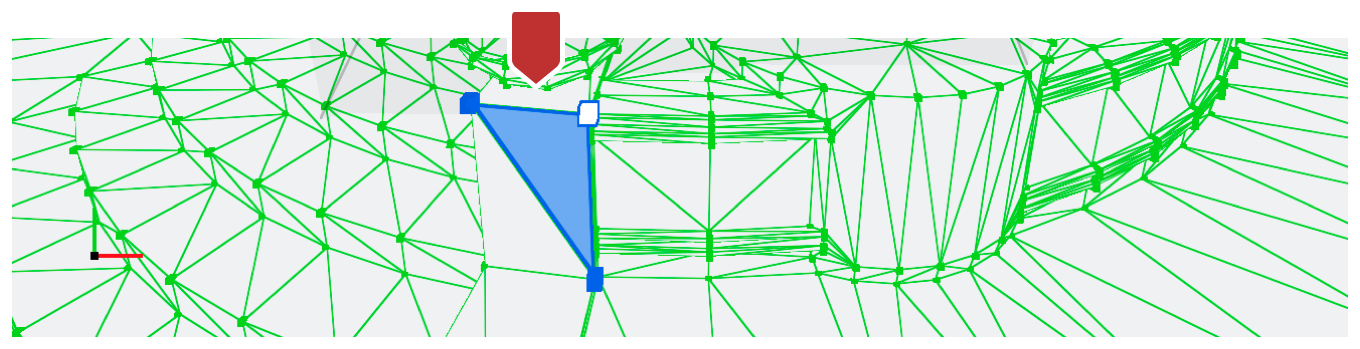 Screenshot of the geometry viewer wireframe with a primitive selected and marked by a callout.
