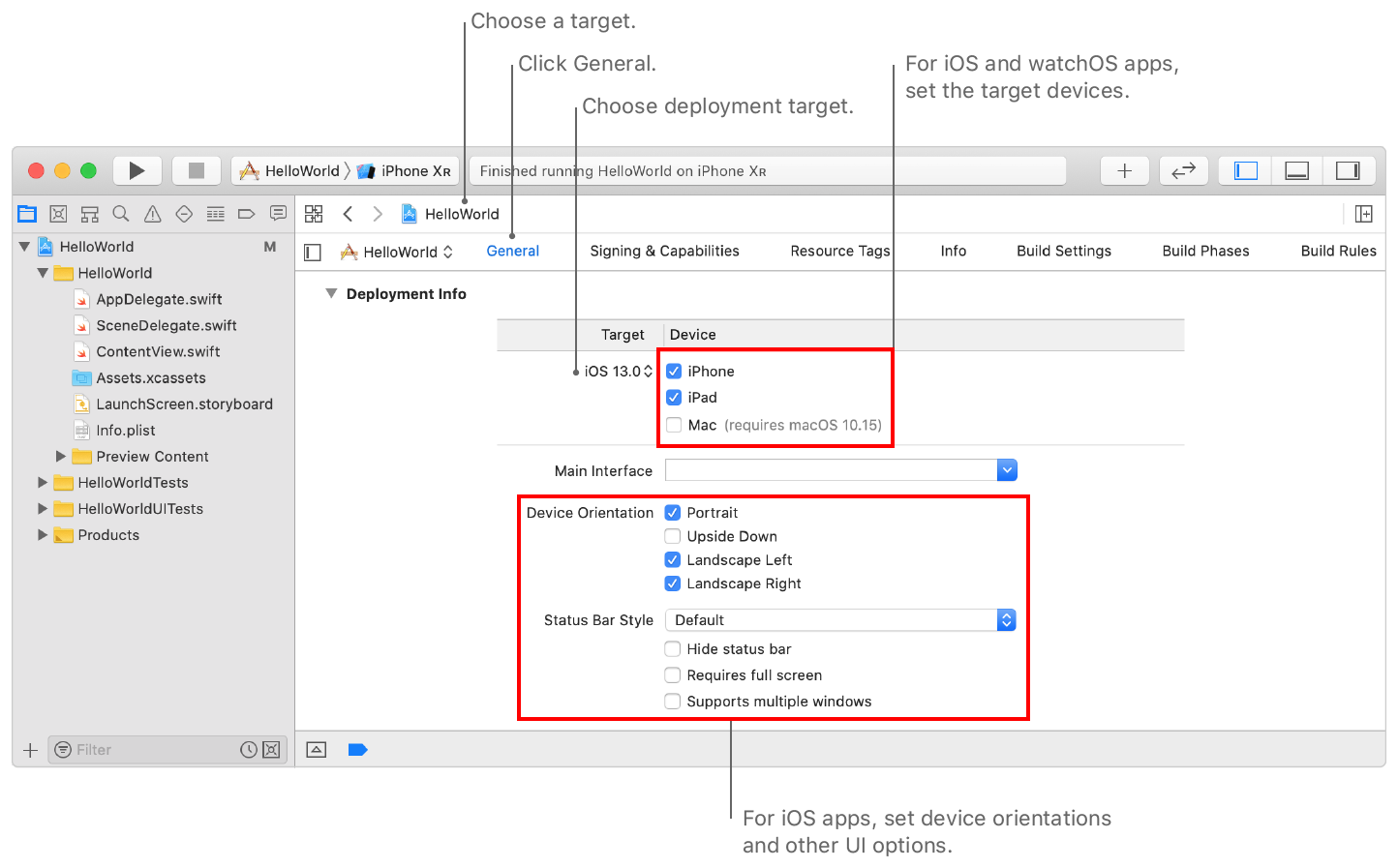 Screenshot showing the Deployment Info settings for an iOS app, where you set the deployment target and OS versions, on the General pane of the project editor.
