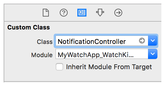 A screenshot showing the Identity inspector, with the NotificationController class set.