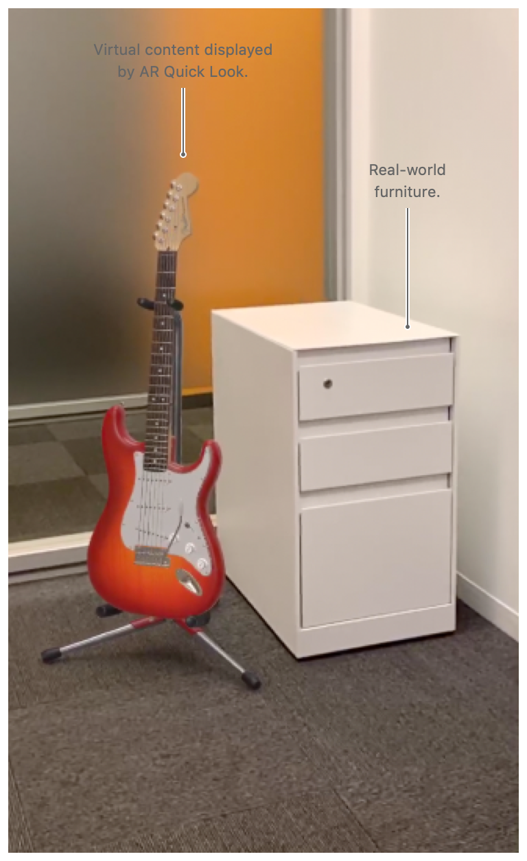 Screenshot of a virtual guitar that's placed in the real world environment via AR Quick Look.