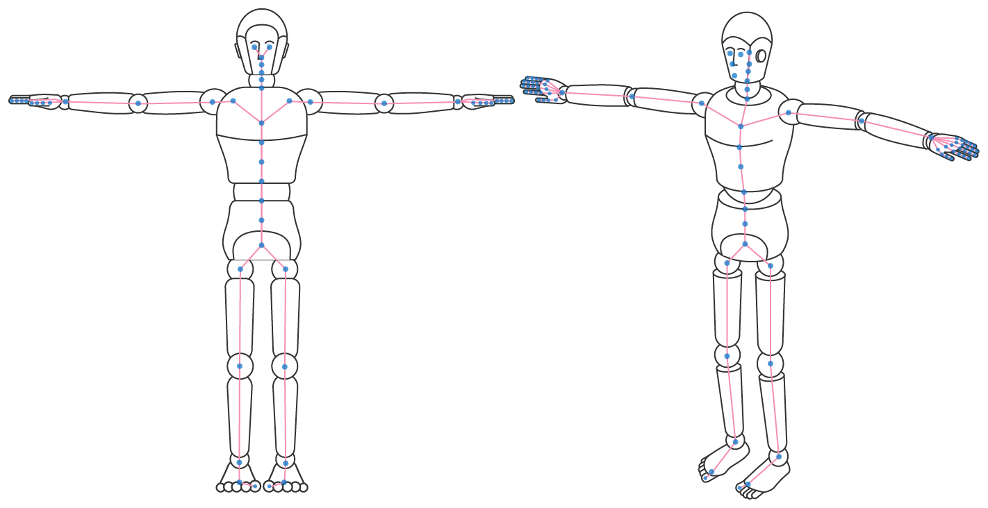 Illustration showing a character in a T-pose configuration.