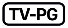 The phrase T V dash P G, inside a black rectangle with rounded corners.