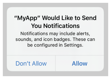 A screenshot showing the system prompting the user to allow or disallow the use of alerts, sounds, and badges when the app sends notifications.