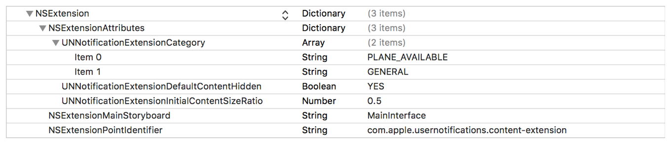 A screenshot of the plist editor, showing the UNNotificaitonExtensionCategory for two notification types.