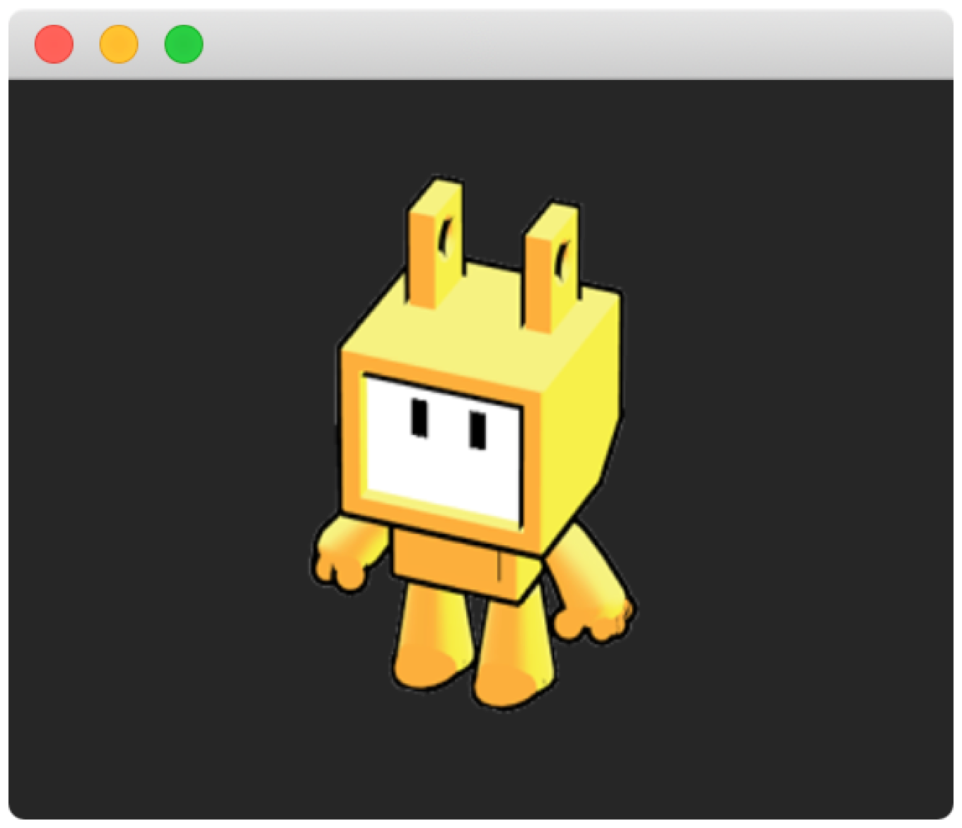 Screenshot of on the app window displaying an image (a sprite) using SpriteKit.